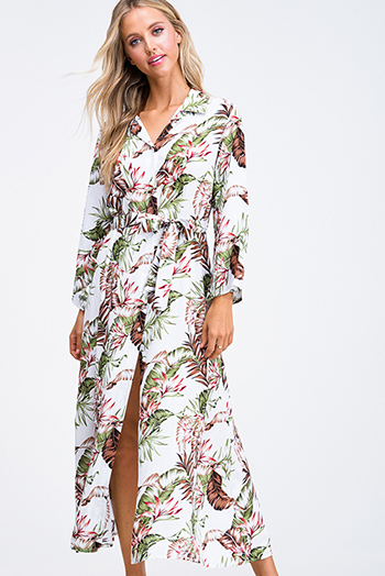 $35 - Cute cheap white floral print ruffle short sleeve pocketed boho mini dress - Ivory white tropical print long sleeve pearl button up belted slit boho resort maxi shirt dress