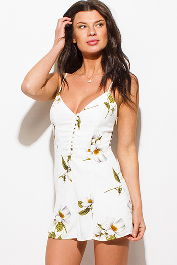 $15 - Cute cheap beige linen blend green floral print embroidered halter resort boho shift mini dress - ivory white v neck magnolia floral print spaghetti strap boho resort romper playsuit jumpsuit
