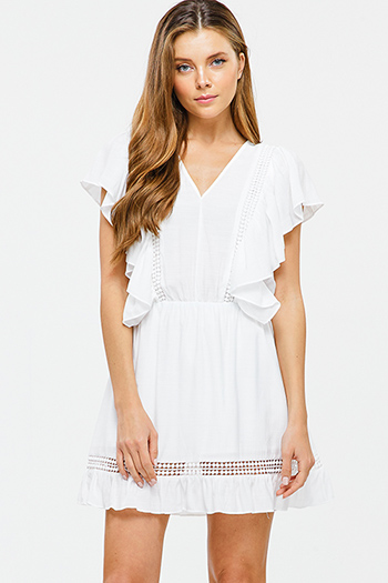 $15 - Cute cheap white floral print ruffle short sleeve pocketed boho mini dress - Ivory white v neck ruffled crochet trim boho sexy party a line mini sun dress