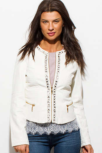 $20 - Cute cheap distressed mocha faux leather stripe banded waisted pleated sexy club mini skirt 88022 - ivory white vegan faux leather long sleeve bejeweled zip up moto jacket