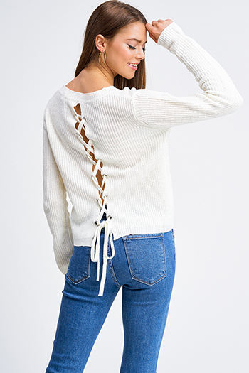 $15 - Cute cheap ivory white washed denim mid rise frayed distressed cuffed hem boho crop skinny jeans - Ivory white waffle knit long sleeve laceup back boho sweater top