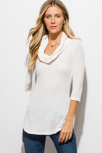 $15 - Cute cheap peach pink draped low cowl neck quarter sleeve knit tunic top - ivory white waffle knit quarter sleeve cowl neck cut out back sweater top