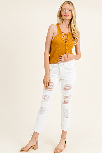 $25 - Cute cheap dark blue washed denim mid rise distressed ripped knee fitted skinny jeans - Ivory white washed denim mid rise frayed distressed cuffed hem boho cropped skinny jeans