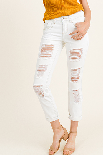 $16 - Cute cheap blue washed denim low rise pearl studded distressed frayed chewed hem boho skinny jeans - Ivory white washed denim mid rise frayed distressed cuffed hem boho cropped skinny jeans
