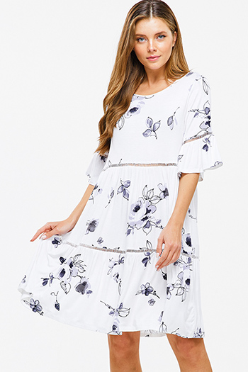 $12 - Cute cheap blue sun dress - Ivory white watercolor floral print short bell sleeve tiered boho peasant mini dress