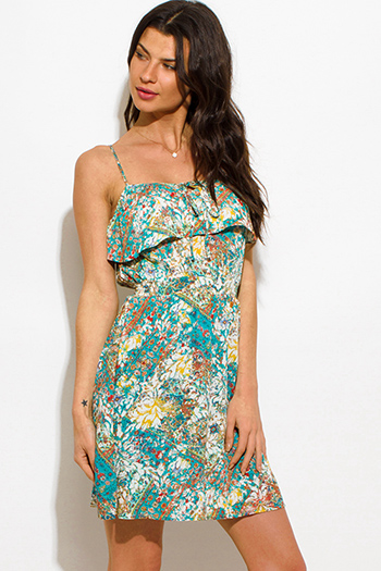 $15 - Cute cheap sheer boho mini dress - jade green multicolor abstract print ruffled boho mini sun dress