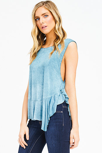 $12 - Cute cheap light blue tencel chambray patch pocket quarter sleeve button up blouse top - jade turquoise blue acid washed ruffle hem sleeveless boho tank top