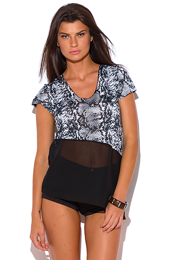 $5 - Cute cheap black low neck short sleeve slub tee shirt top - snake animal print chiffon panel v neck jersey tee shirt top