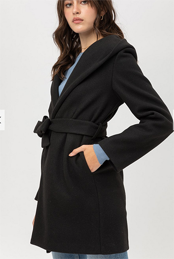 $32.50 - Cute cheap jq fleece belted hoodie coat