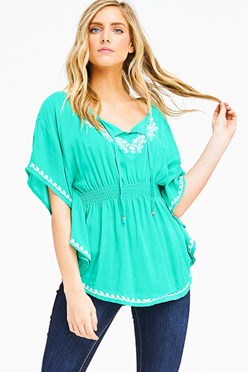 $15 - Cute cheap light blue tencel chambray patch pocket quarter sleeve button up blouse top - kelly green embroidered smocked waist butterfly sleeve boho peasant sexy party blouse top