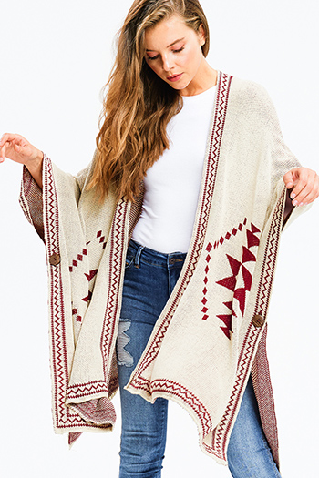 $25 - Cute cheap asymmetrical sweater - khaki beige burgundy knit ethnic print button closure boho sweater shawl poncho jacket