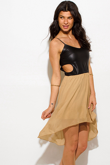 $15 - Cute cheap yellow sexy club dress - khaki beige chiffon black faux leather cut out high low hem club mini dress