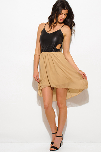 $10 - Cute cheap black leather party dress - khaki beige chiffon black faux leather cut out high low hem sexy club mini dress