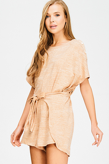 $15 - Cute cheap open back evening jumpsuit - khaki beige cotton blend short sleeve tie waist boho romper playsuit jumpsuit