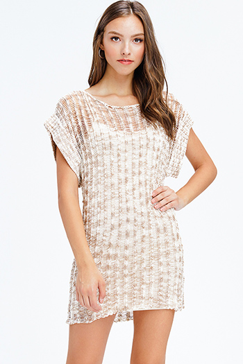 $15 - Cute cheap white cotton quarter sleeve faux pearl studded keyhole back tiered boho mini dress - khaki beige crochet sweater knit short sleeve boho beach cover up mini dress