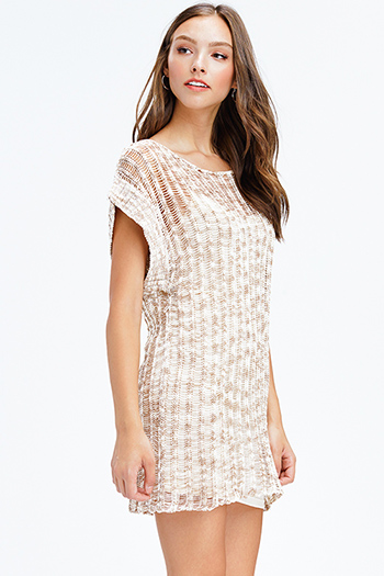 $9 - Cute cheap wrap mini dress - khaki beige crochet sweater knit short sleeve boho beach cover up mini dress