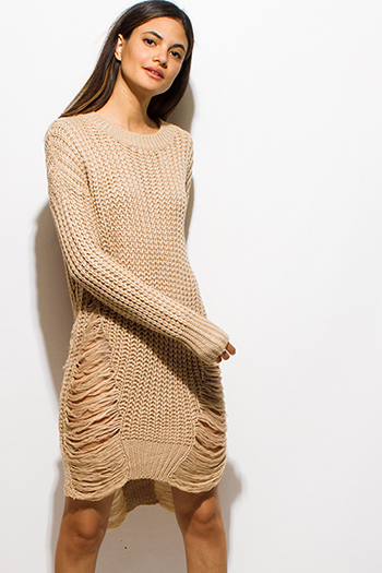 $30 - Cute cheap long sleeve fitted bodycon dress - khaki beige crochet waffle knit  long sleeve destroyed shredded midi sweater dress