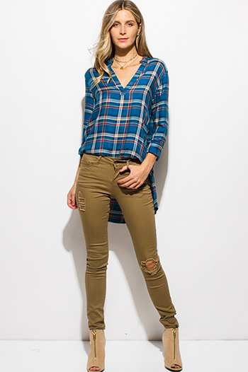 $20 - Cute cheap dark blue washed denim mid rise fitted skinny ankle jeans - khaki tan denim mid rise distressed ripped knee skinny jeans