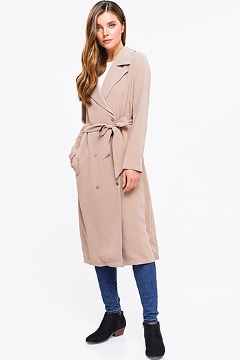 $30 - Cute cheap green pocketed coat - khaki beige double breasted button up tie waist duster trench coat