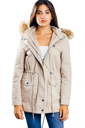 $25 - Cute cheap black quilted faux fur lined asymmetrical zip up puffer bomber jacket - khaki beige drawstring tie waist hooded pocketed puffer anorak coat jacket