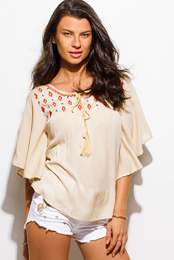 $15 - Cute cheap khaki camel beige basket weave hooded fringe trim sweater knit poncho tunic top - khaki beige embroidered dolman butterfly sleeve boho peasant blouse top