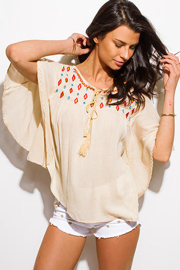$15 - Cute cheap satin asymmetrical blouse - khaki beige embroidered dolman butterfly sleeve boho peasant blouse top