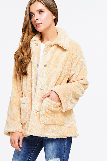 $15 - Cute cheap stone gray long sleeve exposed stitch zip up hooded pocketed boho jacket top - Khaki beige faux fur fleece long sleeve button up pocketed oversized teddy coat jacket