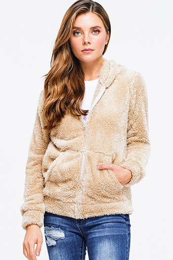 $25 - Cute cheap dark blue washed denim button up pocketed frayed hem crop jean jacket - Khaki beige faux fur fuzzy fleece long sleeve zip up pocketed hooded teddy jacket