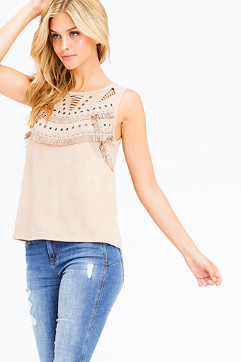 $15 - Cute cheap stripe asymmetrical boho top - khaki beige faux suede eyelet fringe keyhole cut out boho sleeveless top