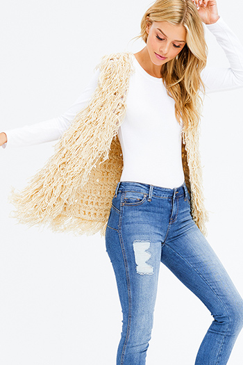 $20 - Cute cheap open back evening jumpsuit - khaki beige fuzzy sweater tassel fringe open front boho vest cardigan