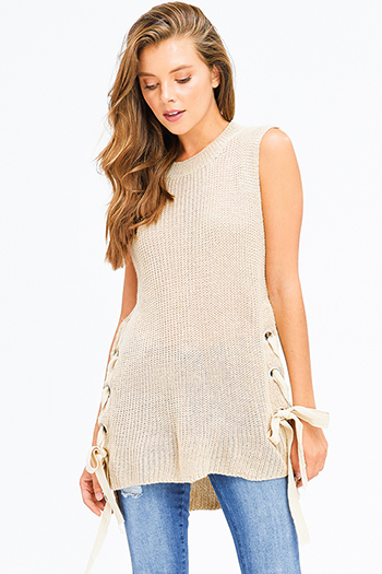 $20 - Cute cheap stripe asymmetrical boho top - khaki beige knit sleeveless eyelet laceup side high low hem boho sweater tunic top