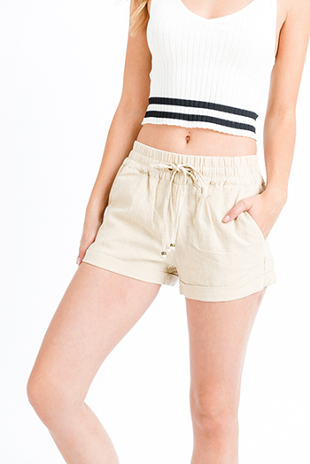 $19 - Cute cheap Khaki beige linen mid rise tie waist pocketed boho lounge shorts