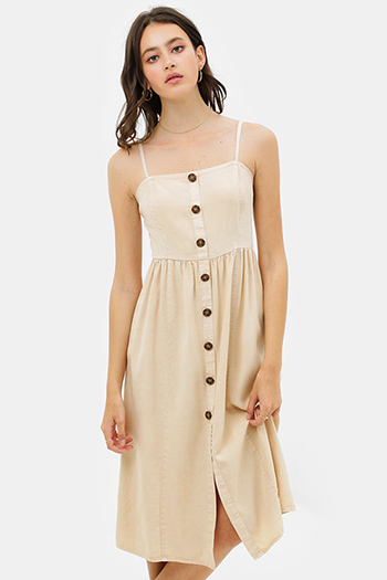 $30 - Cute cheap v neck sun dress - Khaki beige linen sleeveless button trim boho midi sun dress