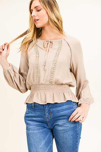 $15 - Cute cheap ruched blouse - Khaki beige long sleeve crochet lace applique smocked ruffle hem boho peasant blouse top