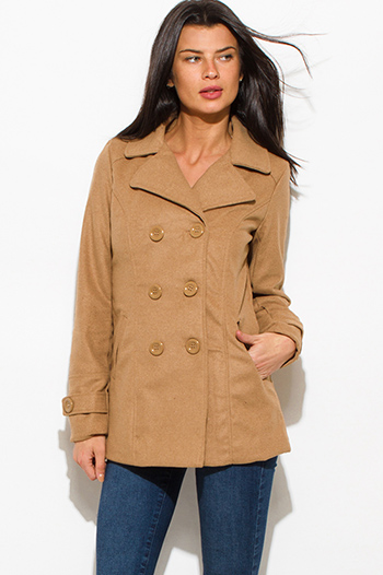$20 - Cute cheap black puff shoulder long sleeve double breasted peacoat wool jacket - khaki beige long sleeve double breasted pocketed peacoat jacket