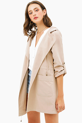 $25 - Cute cheap sheer long sleeve blouse - Khaki beige long sleeve drawstring waist open front hooded trench coat jacket top