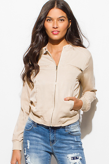 $20 - Cute cheap black mandarin collar long sleeve zip up fitted jacket crop top - khaki beige long sleeve elbow patch zip up pocketed moto jacket top