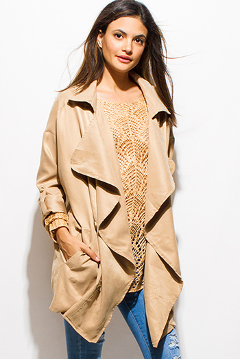 $20 - Cute cheap red golden button militarty style open blazer jacket - khaki beige long sleeve pocketed buttoned open front oversized waterfall trench coat jacket
