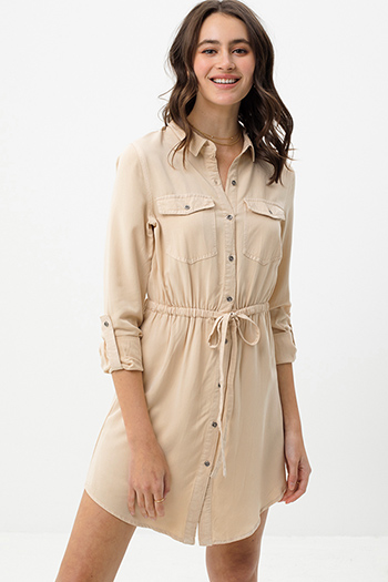 $25.00 - Cute cheap butterfly ruched open back mini dress - Khaki beige long sleeve tie waist button up boho mini shirt dress