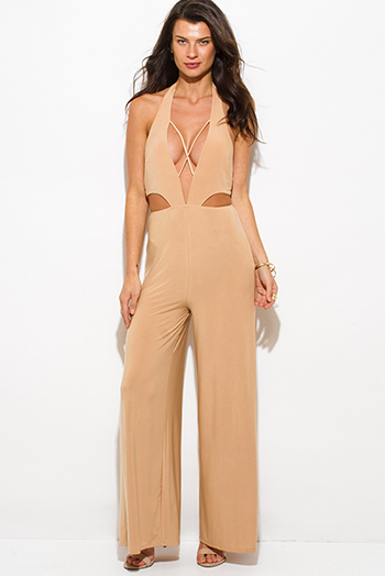 $20 - Cute cheap satin pocketed evening jumpsuit - khaki beige low cut v neck halter criss cross cut out backless wide leg evening sexy party jumpsuit