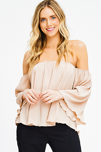$15 - Cute cheap beige boho top - khaki beige micropleat off shoulder long bell sleeve boho blouse top