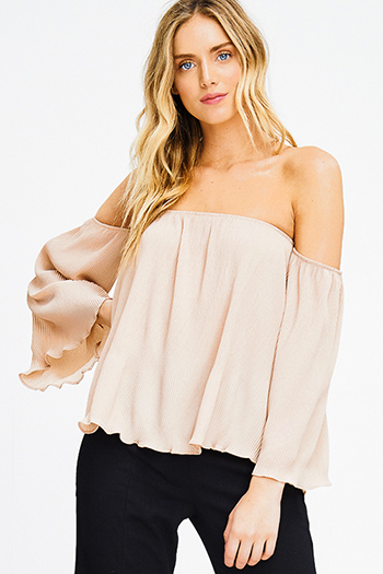 $15 - Cute cheap stripe chiffon blouse - khaki beige micropleat off shoulder long bell sleeve boho blouse top