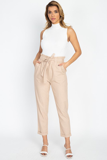 $25 - Cute cheap white denim a line high waisted fitted pocketed boho flare overalls jumpsuit - Khaki beige paperbag high waisted pocketed tie waist tapered harem pants