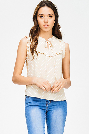 $15 - Cute cheap chiffon sheer top - khaki beige polka dot print ruffle keyhole tie front boho tank blouse top