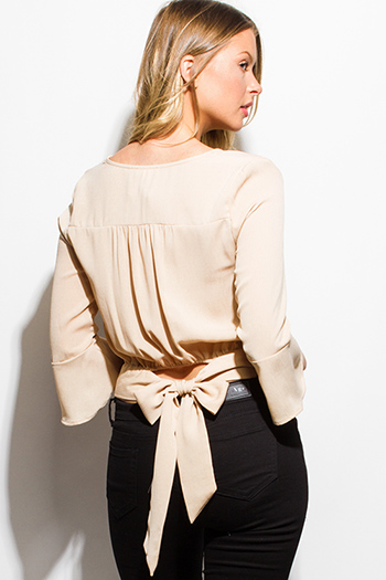 $15 - Cute cheap satin asymmetrical blouse - khaki beige quarter bell sleeve waist bow tie back boho crop blouse top