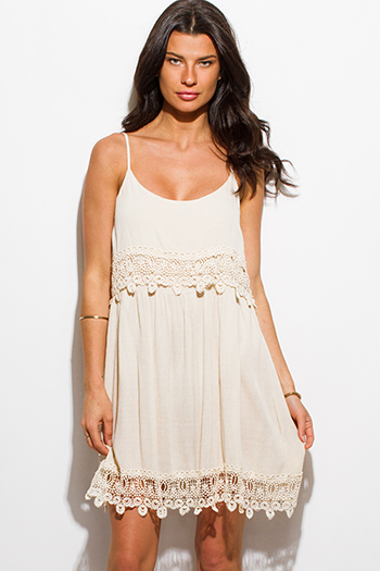 $15 - Cute cheap lace strapless sun dress - khaki beige rayon gauze crochet lace trim tiered boho mini sun dress