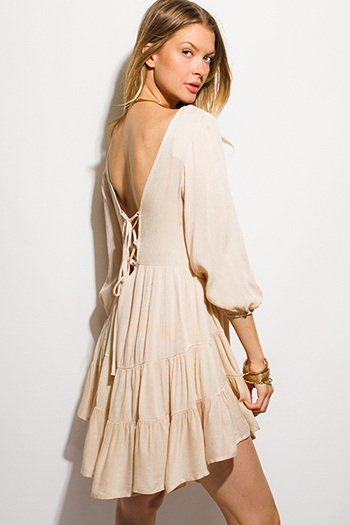 $15 - Cute cheap clothes - khaki beige rayon gauze laceup open back tiered boho mini dress