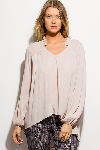 $15 - Cute cheap beige top - khaki beige rayon gauze long blouson sleeve high low hem resort boho blouse top