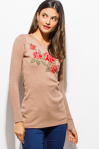 $10 - Cute cheap blouson sleeve top - khaki beige ribbed sweater knit scoop neck rose print graphic long sleeve top