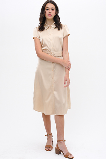$32 - Cute cheap v neck sun dress - Khaki beige satin short sleeve belted button up boho midi shirt dress